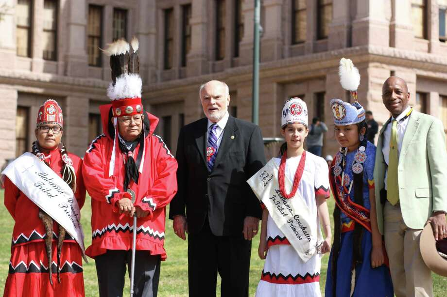 Herbert Johnson Sr., second-chief of the Alabama-Coushatta Tribe of Texas, and roughly 400 members of the tribe visited the State Capitol and met with Sen. Robert Nichols (District 3) and Rep. James White (District 19) and presented a proclamation before the 85th Texas Legislature. Photo: Vanesa Brashier / Vanesa Brashier