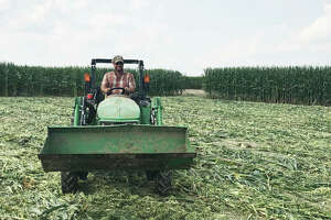 Sixth-generation farmer Eric DeMange sits at the exit of DeMange Corn Maze at 1205 Cypress Road, St. Jacob. In its second year, the site is planning a grand opening Saturday, Oct. 3. The corn maze is a recent addition to DeMange's 40-year-old farm.