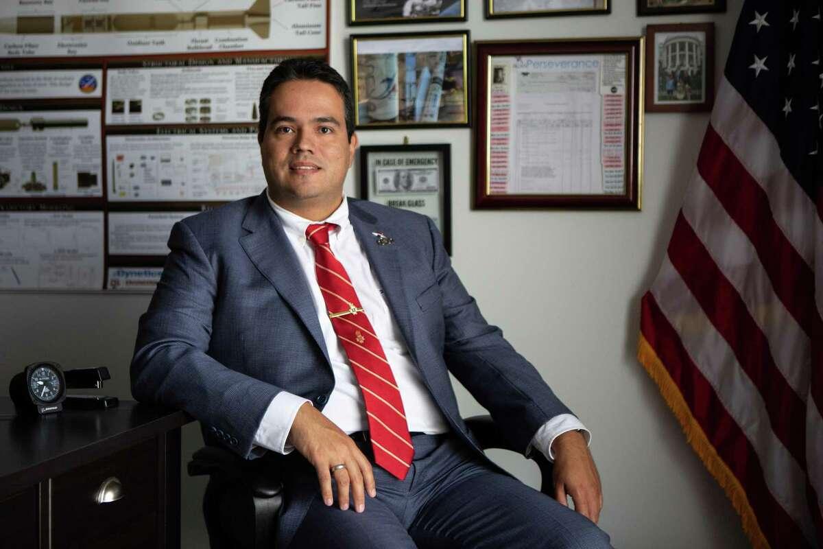Fernando De La Peña Llaca, CEO and President of Aexa Aerospace, poses for a portrait in his office on Aug. 25, 2020.