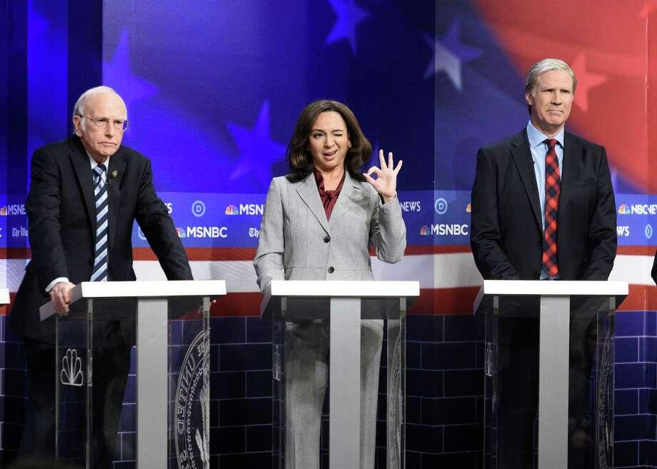 "From left, Larry David as Bernie Sanders, Maya Rudolph as Kamala Harris and Will Ferrell as Tom Steyer during a ""Saturday Night Live"" sketch on Nov. 23, 2019. Photo: Will Heath/NBC / 2019 NBCUniversal Media, LLC"