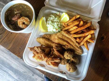 Shrimp and catfish plate with gumbo at Texas 202 Barbeque
