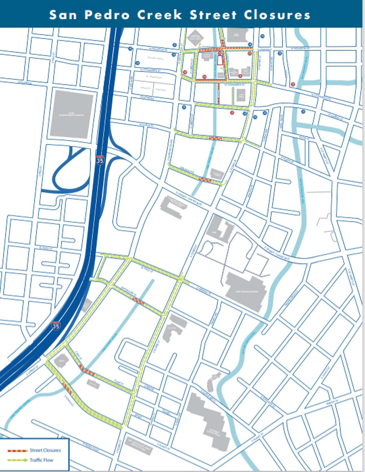 Beginning Monday, Alamo Street between Interstate 10 and South Flores Street will be reduced to a two-lane road until early 2023 while construction crews replace the Alamo Street Bridge, the San Antonio River Authority said in a news release Wednesday.