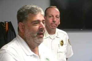 New Milford Mayor Pete Bass, left, and Police Chief Spencer Cerruto, September 6, 2019, in New Milford, Conn.