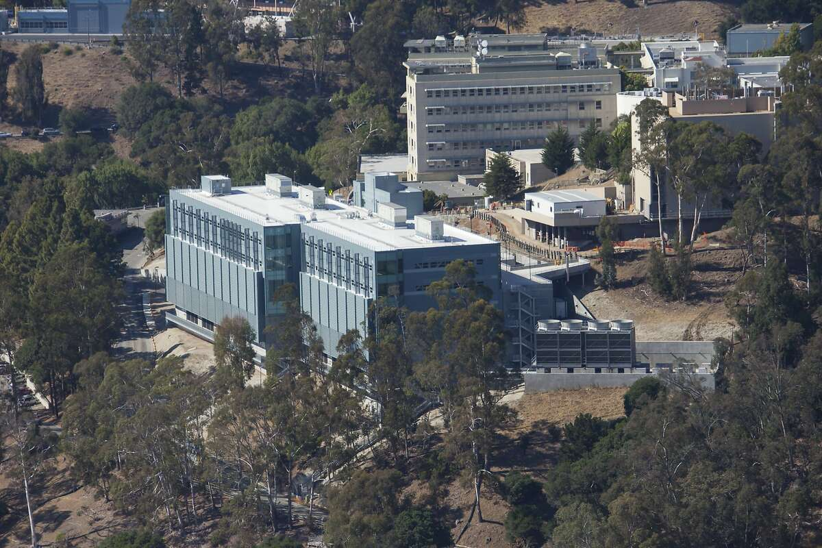 An aerial view of the new Shyh Wang Hall at the Lawrence Berkeley National Laboratory above the UC-Berkeley campus.