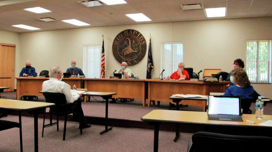 In this file photo, the Big Rapids City Commission take part in a discussion. During a recent meeting, the commission reviewed results from a housing study and took a look at how the results could affect housing in the future. (Pioneer file photo)