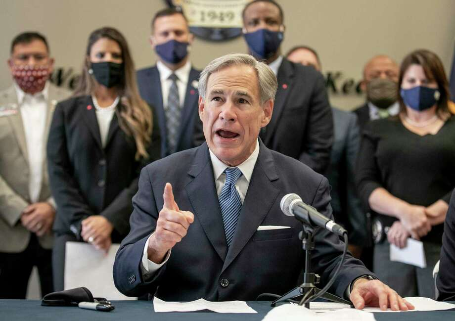 "Texas Gov. Gov. Greg Abbott speaks at a news conference before signing a ""Texas Backs the Blue Pledge"" at the Austin Police Association on Thursday Sept. 10, 2020, in Austin, Texas. ( Jay Janner/Austin American-Statesman via AP) Photo: Jay Janner, MBR / Associated Press / Austin American-Statesman"