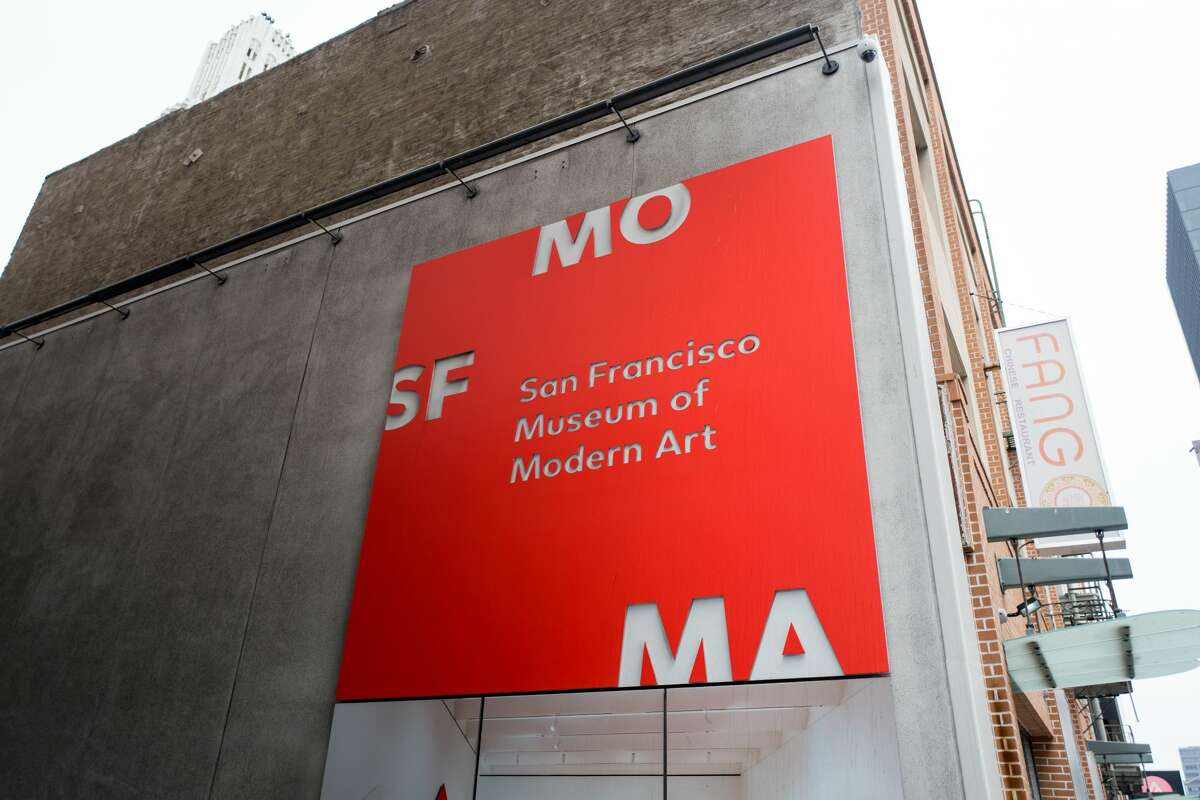 FILE - Bright red sign for the San Francisco Museum of Modern Art (SFMoMA) in the South of Market or SoMA neighborhood of San Francisco, California, August 2, 2018.