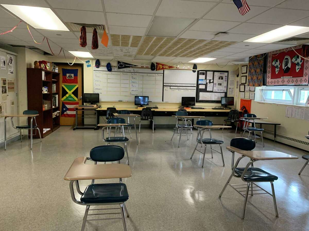 Classroom seating spaced 6 feet apart is one of several precautions Stamford High School has enacted to combat the spread of COVID-19.