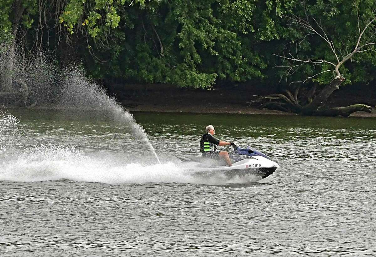 A person rides a jet ski southbound on the Hudson River past the Corning Preserve on Thursday, Sept. 17, 2020 in Albany, N.Y. (Lori Van Buren/Times Union)