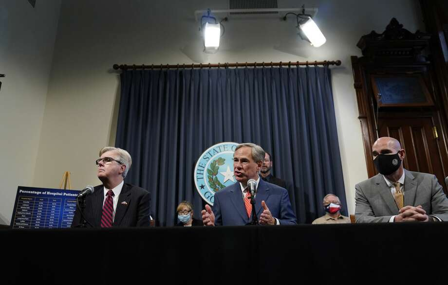 Lt. Governor Dan Patrick, left, Texas Gov. Greg Abbott, and Speaker Dennis Bonnen, right, attend a news conference where they provided an update to Texas' response to COVID-19, Thursday, Sept. 17, 2020, in Austin, Texas. (AP Photo/Eric Gay) Photo: Eric Gay/Associated Press / Copyright 2020 The Associated Press. All rights reserved.