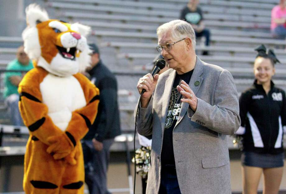 Conroe Mayor Toby Powell, Conroe High School Class of 1959, speaks during the annual Tiger Spirit 5K and 1 mile walk in support of student scholarships, Saturday, March, 24, 2018, in Conroe. Powell a lifelong resident of Conroe passed away on Sept. 12. Photo: Jason Fochtman, Staff Photographer / Houston Chronicle / © 2018 Houston Chronicle