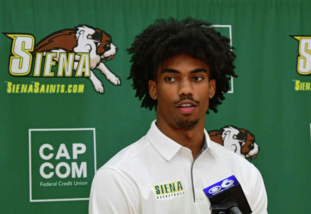 Siena basketball player Manny Camper answers questions from the media during an event at Siena College on Thursday, Sept. 17, 2020 in Loudonville, N.Y. (Lori Van Buren/Times Union)