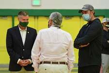 Siena President Chris Gibson, left, talks to Athletic Director John D?•Argenio, center, and basketball head coach Carmen Maciariello before an event at Siena College on Thursday, Sept. 17, 2020 in Loudonville, N.Y. (Lori Van Buren/Times Union)