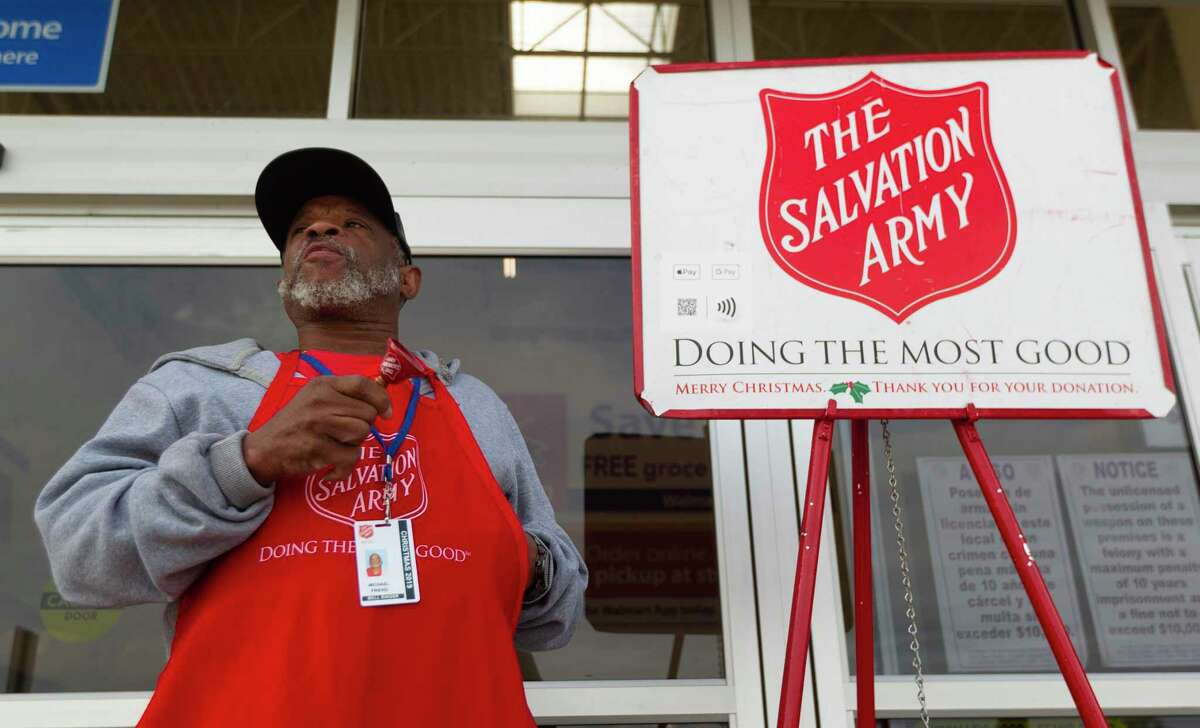 Salvation Army volunteer bell ringer Mike Friend rings a bell outside of Walmart along College Park Drive near I-45, Thursday, Dec. 12, 2019, in The Woodlands. Major Don Wildish with the Salvation Army in Conroe is concerned the charitable organization in Montgomery County may enter 2020 with a $40,000 debt in part because Thanksgiving started a week later, causing donations through the holiday season to be down compared to 2018.