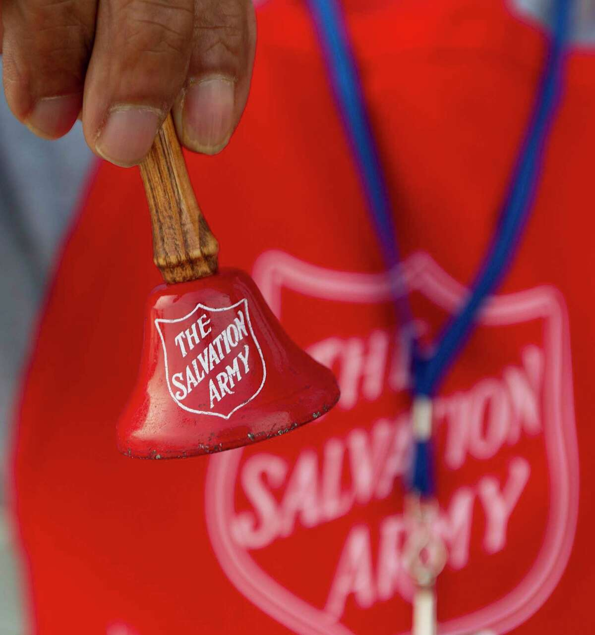 Detail of a Salvation Army bell is seen, Thursday, Dec. 12, 2019, in The Woodlands. Major Don Wildish with the Salvation Army in Conroe is concerned the charitable organization in Montgomery County may enter 2020 with a $40,000 debt in part because Thanksgiving started a week later, causing donations through the holiday season to be down compared to 2018.