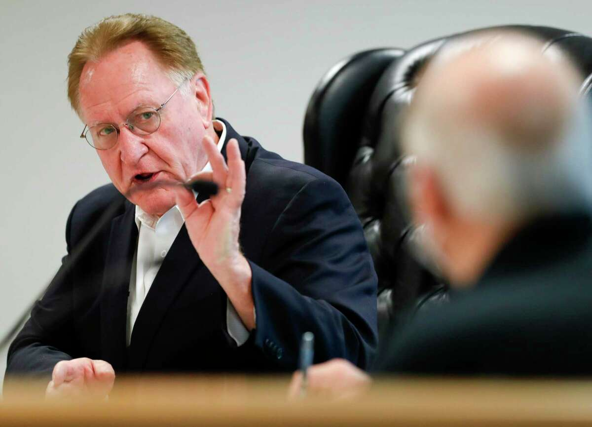 Montgomery County Judge Mark Keough gives his thoughts on Texas Governor Greg Abbott's guidelines to reopen businesses during a Montgomery County Commissioners Court meeting, Tuesday, April 28, 2020, in Conroe.
