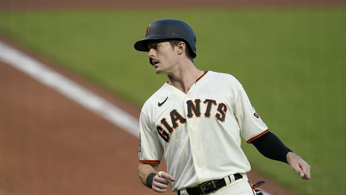 San Francisco Giants' Mike Yastrzemski against the Seattle Mariners during a baseball game in San Francisco, Wednesday, Sept. 16, 2020. This is a makeup of a postponed game from Tuesday in Seattle. (AP Photo/Jeff Chiu)
