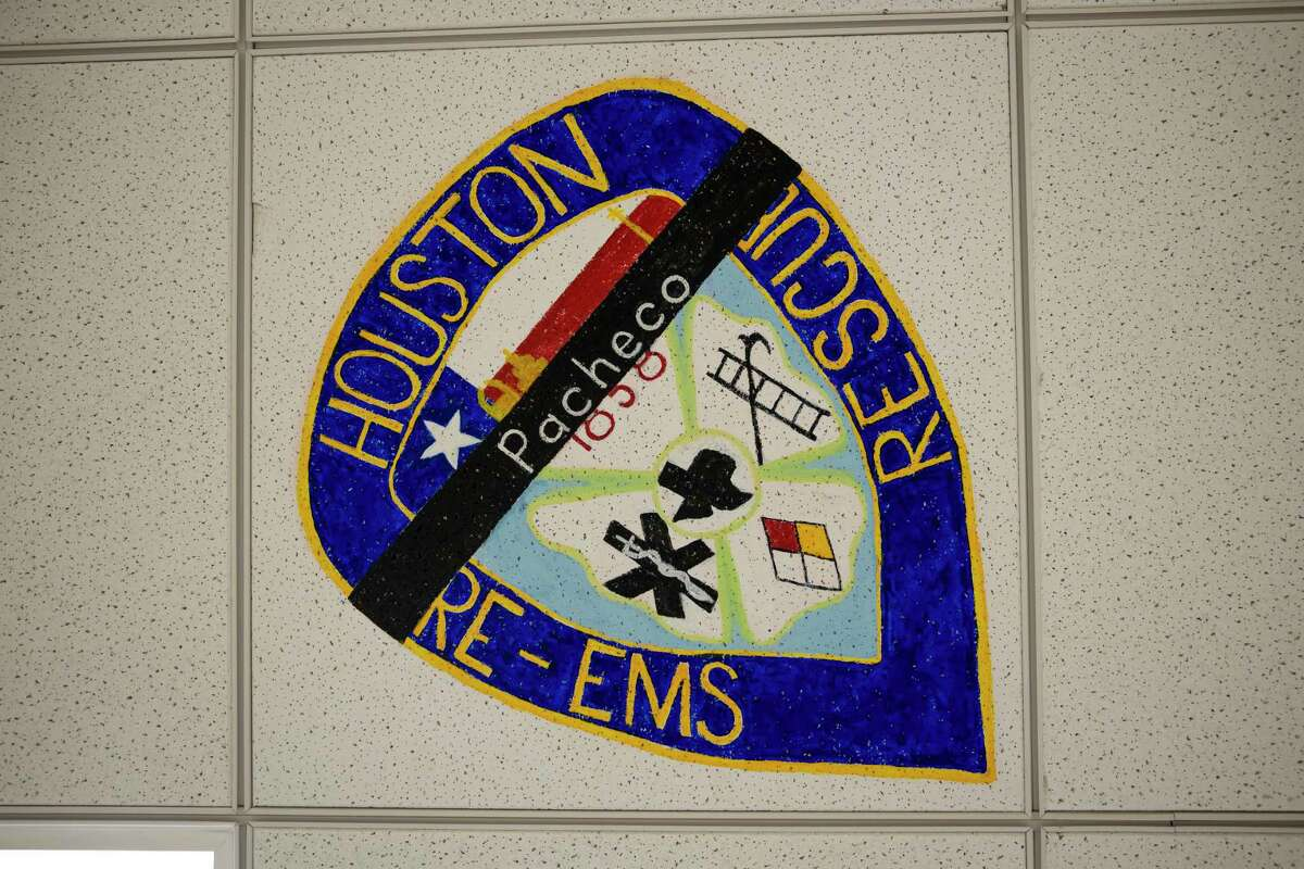A ceiling tile was unveiled in honor of fallen HFD fireman Jerry Pacheco, who passed away last month from COVID-19 at Memorial Hermann Northeast Hospital in Humble, Wednesday, Sept. 16, 2020.