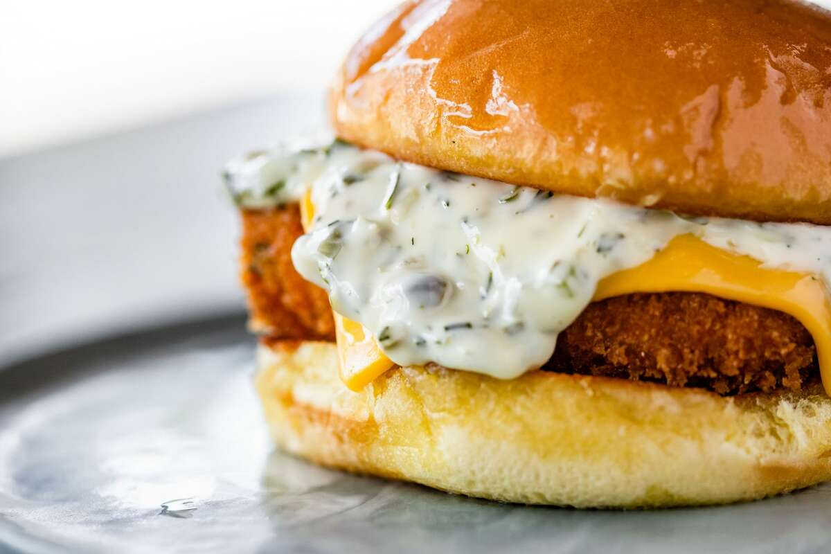 Fried fish sandwich at Louie's.