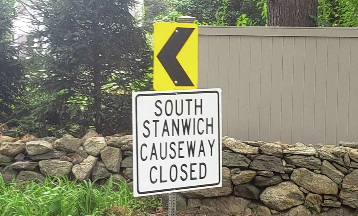 South Stanwich is closed because the embankment that runs across Rockwood Lake in backcountry Greenwich has partially collapsed.