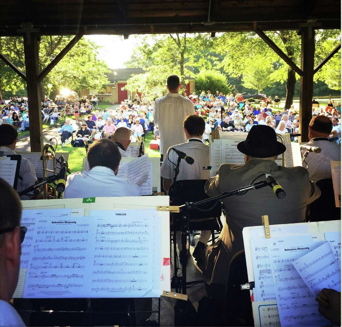 The Waterbury Symphony Orchestra is seen at 2019's pops concert in Woodbury's Hollow Park.