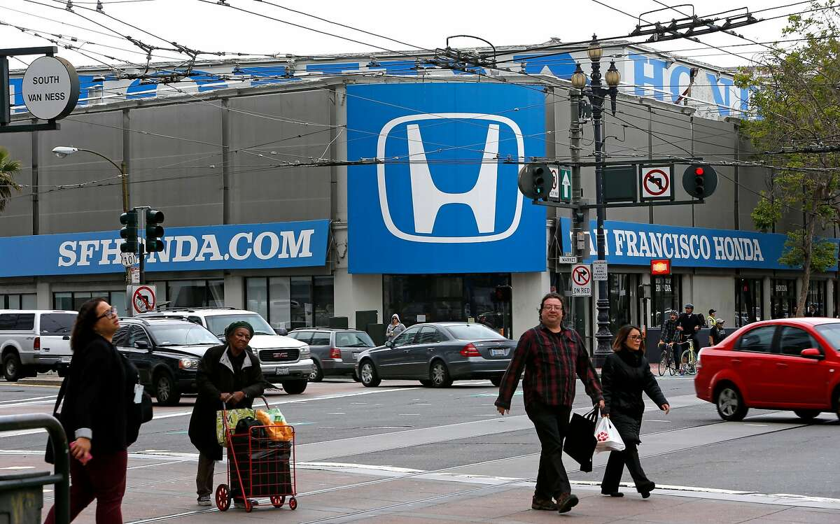 The Honda dealership on the corner of Market St. and Van Ness Ave., in San Francisco, Calif., on Thursday May 8, 2014. is in contrat talks with developers. The four corners at the intersection of Market St. and Van Ness Ave. will soon be the home of several thousand housing units in the next several years.