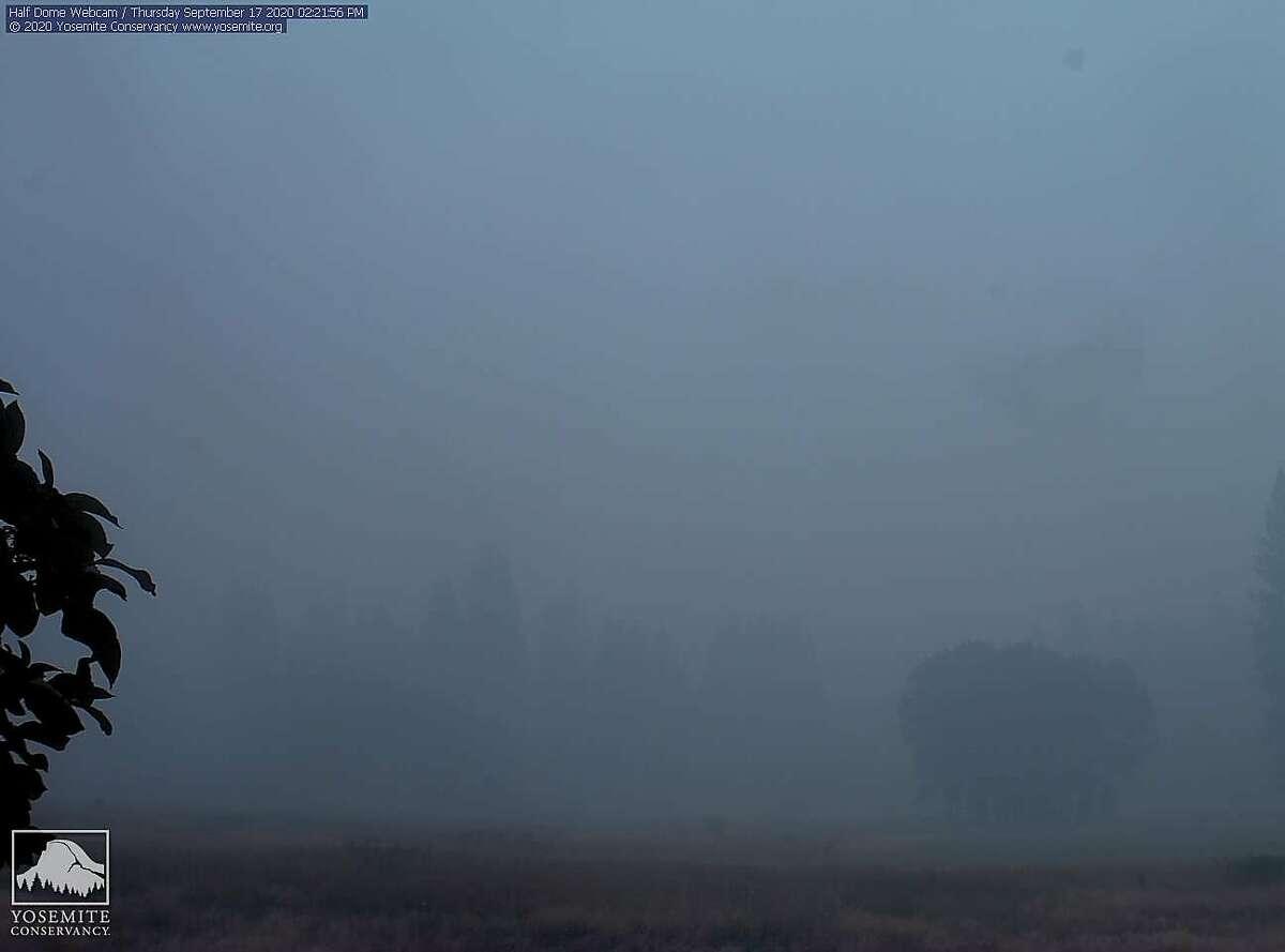 "A screenshot taken from Yosemite National Park's ""Half Dome"" web cam on Thursday, Sept. 17."