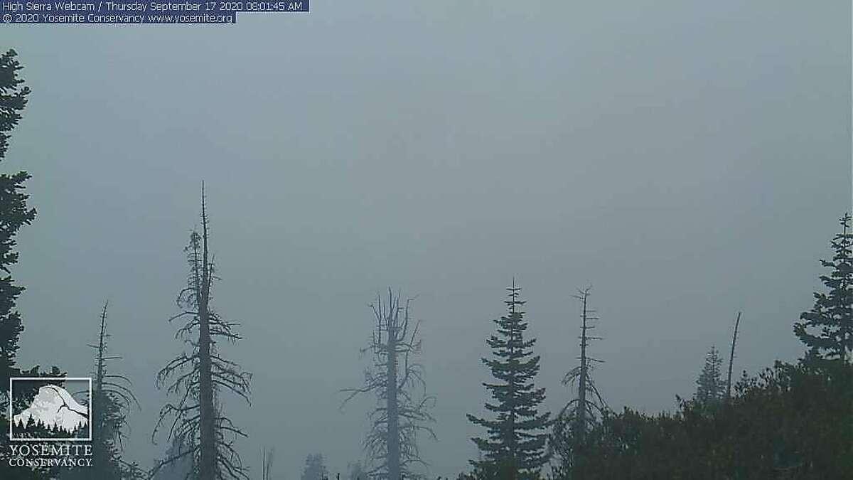 "A screenshot taken from Yosemite National Park's ""High Sierra"" web cam on Thursday, Sept. 17."