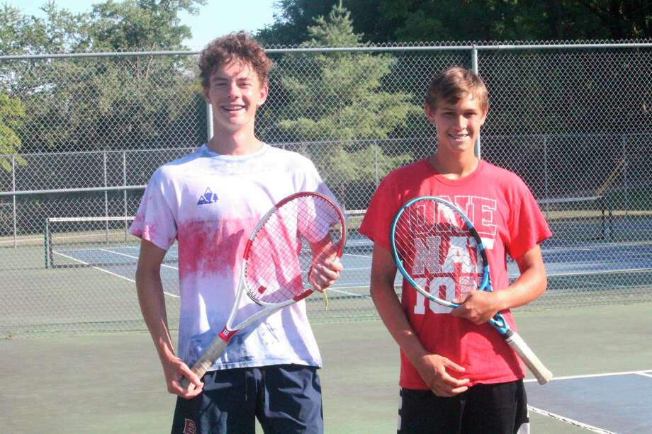 Owen Bomay (left) and Nate Sanders have been leading the way at No. 1 doubles for Big Rapids tennis. (Pioneer photo/John Raffel)