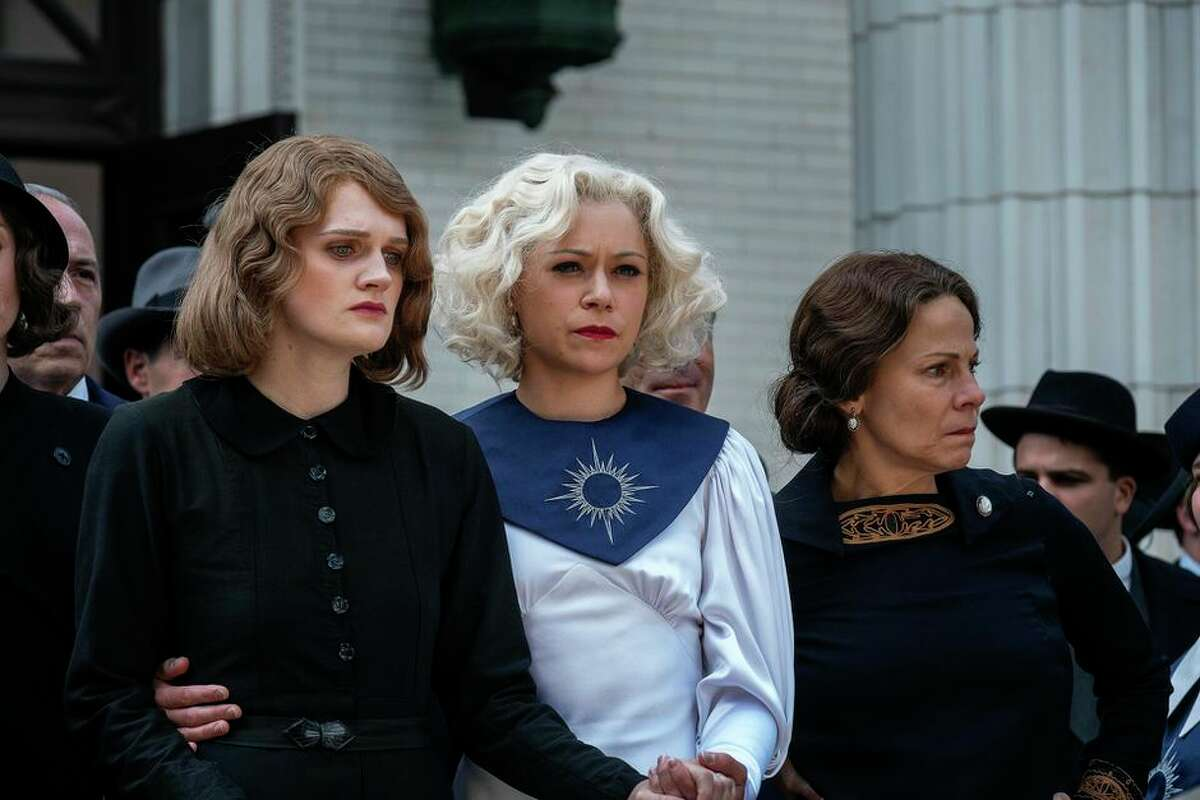 Tatiana Maslany (center) played a character based on Aimee Semple McPherson in HBO's