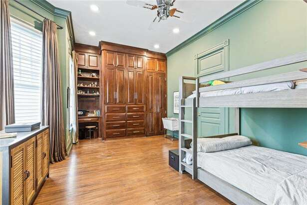 One of the four bedrooms in the Washington Avenue mansion.