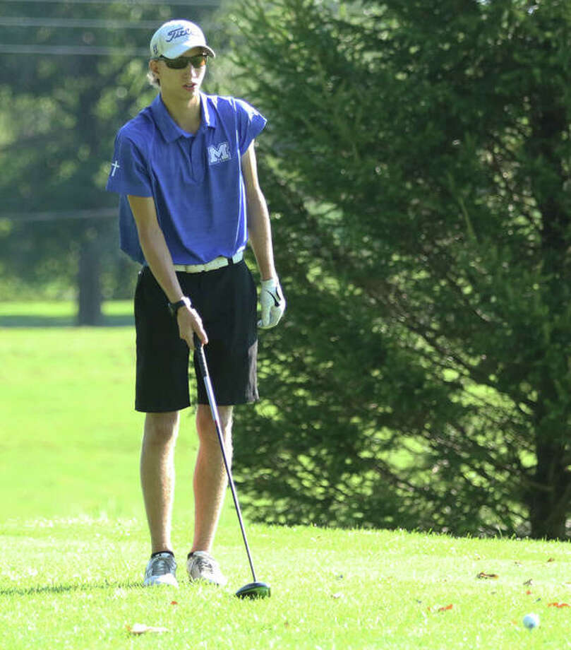 For seniors like Marquette Catholic's William Roderfeld, PGA pro Mike Suhre of Edwardsville hopes to provide an opportunity for a golf postseason that the IHSA has taken away because of COVID-19. Photo: Greg Shashack | The Telegraph