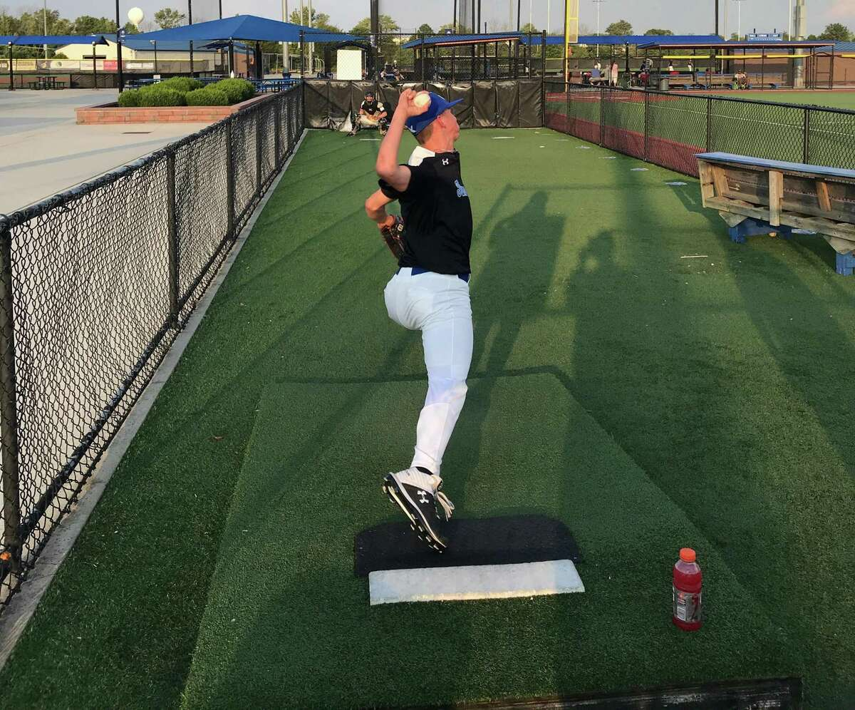 King sophomore James Raidt warms up in the bullpen this summer prior to a game at Diamond Nation in New Jersey. The 6-foot-2 Raidt has committed to play baseball at Duke.