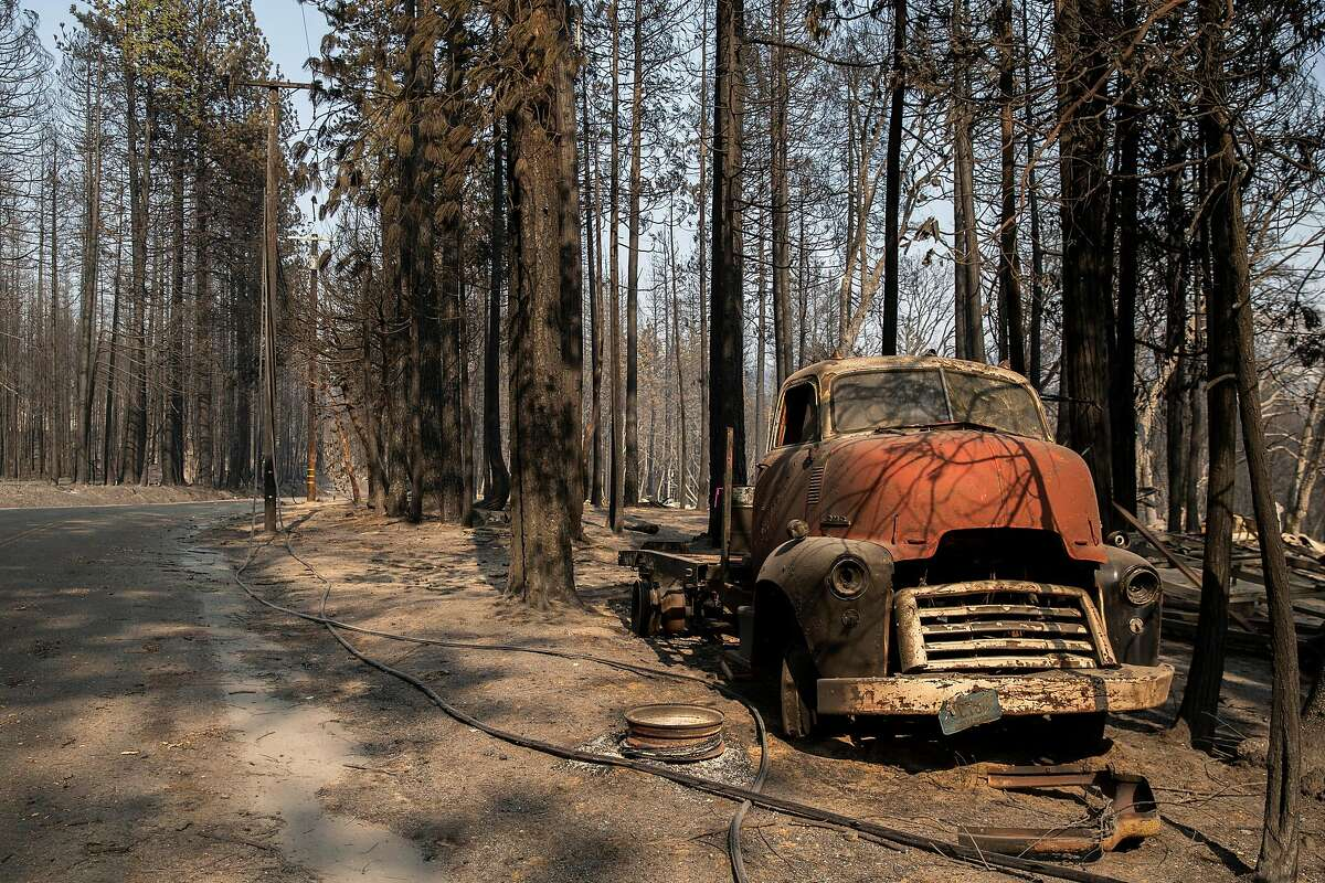 The remains of a truck along Zink Road on Wednesday, Sept. 16, 2020, in Berry Creek, Calif. The area was destroyed by the North Complex fire.