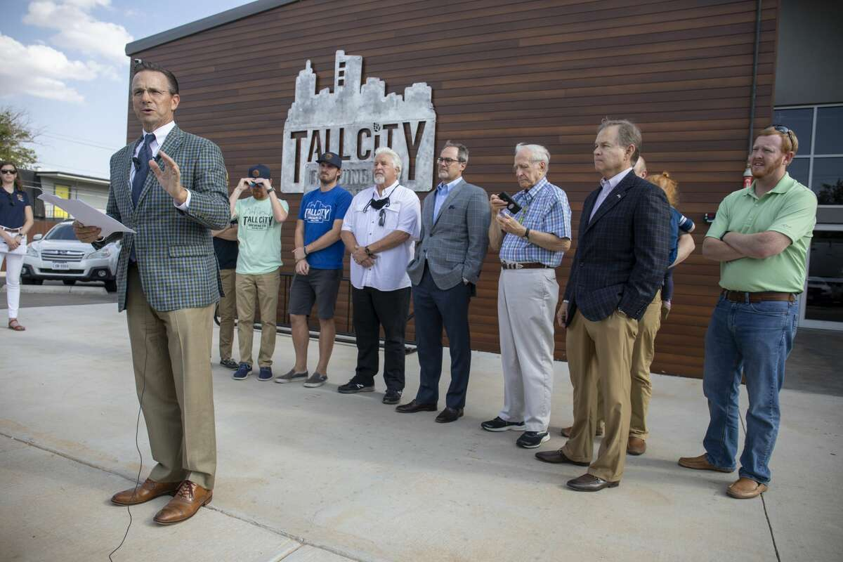 Mayor Patrick Payton addresses the press about his views on Governor Abbott's decision to not reopen bars Thursday, Sept. 17, 2020 at Tall City Brewing Co.