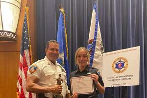 Capt. Diedrich Hohn and patrol officer Jill Moller at MADD's 32nd law enforcement recognition ceremony on Monday night.
