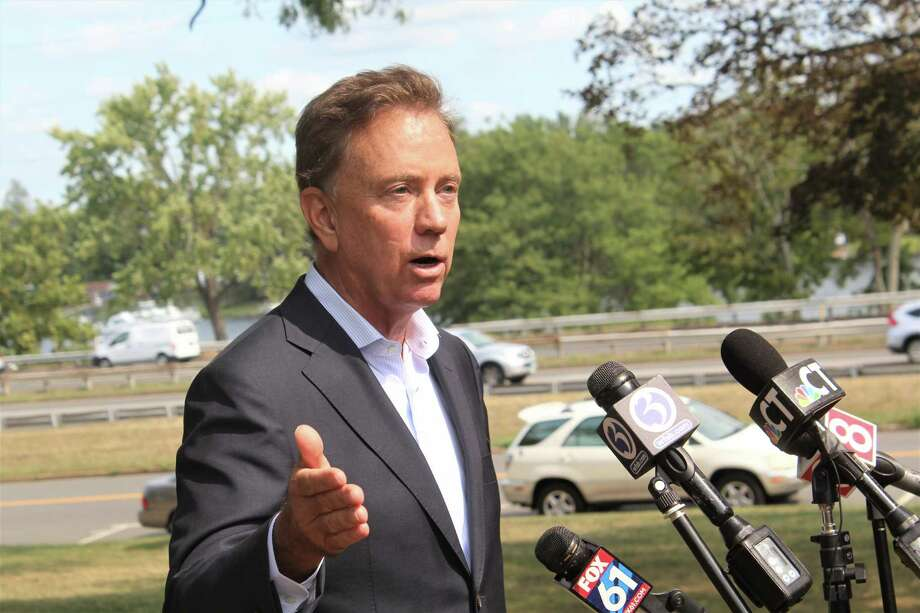 Gov. Ned Lamont stopped by Middletown City Hall Wednesday on deKoven Drive to speak with reporters. Photo: Cassandra Day / Hearst Connecticut Media