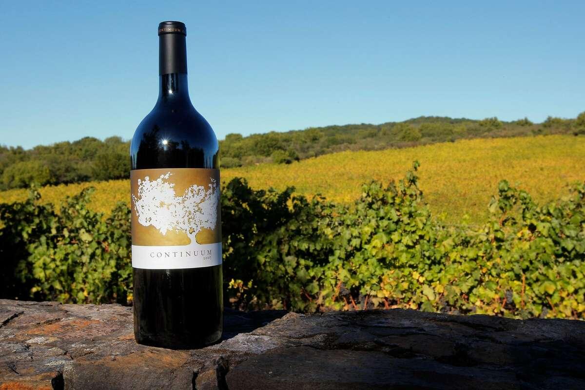 A bottle of Tim Mondavi's Continuum 2007 blend at the estate on Pritchard Hill.