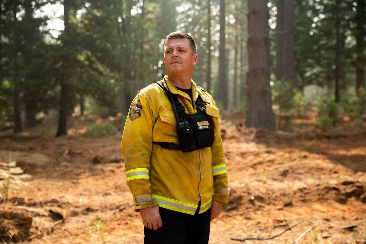 A portrait of Sean Norman, Butte County CalFire battalion chief at Station 62, along Barton Hill Rd on Wednesday, Sept. 16, 2020, in Strawberry Valley, Calif.
