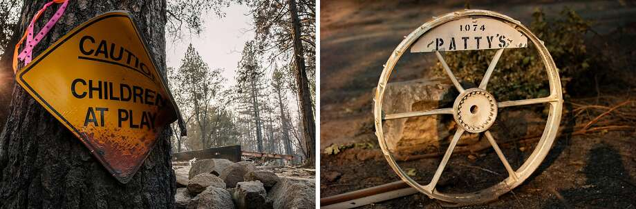 Left: 991 Bald Rock Road on Wednesday, Sept. 16, 2020, in Berry Creek, Calif. The area was destroyed by the North Complex fire. Right: The remains of an ornament at 1074 Bald Rock Road on Wednesday, Sept. 16, 2020, in Berry Creek, Calif. The area was destroyed by the North Complex fire. Photo: Santiago Mejia / The Chronicle