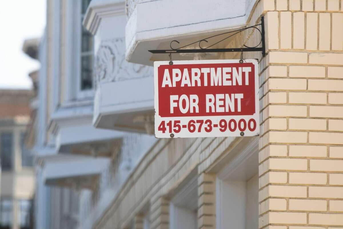 A sign for an apartment for rent hangs outside an apartment building in San Francisco, Calif., on Sept. 16, 2020.