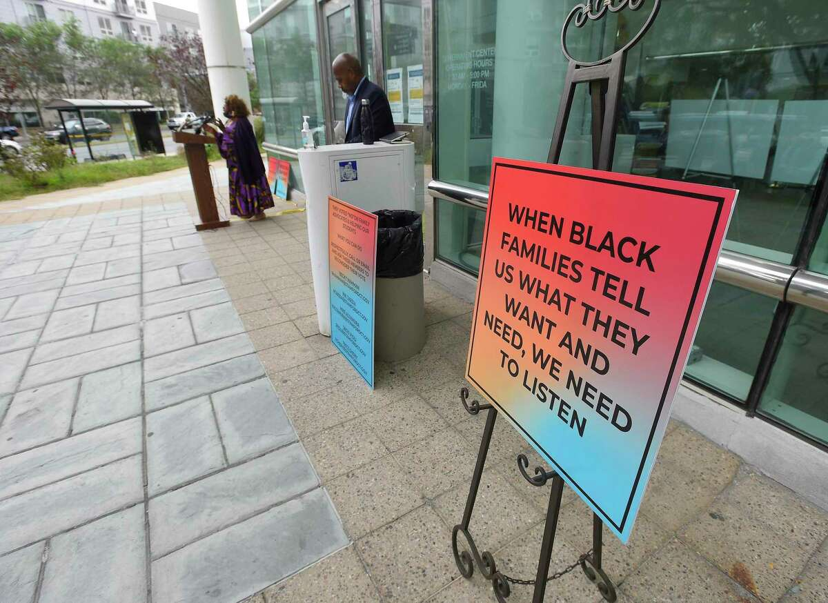 """Apostle Helene Streeter, Jesus is Lord Tabernacle Ministries speaks out during a small rally outside the Stamford Goverment Center on Sept. 17, 2020 in Stamford, Connecticut that raised awareness to the Stamford Board of Education's """"Lack of Concern for Black and Brown Students"""""""