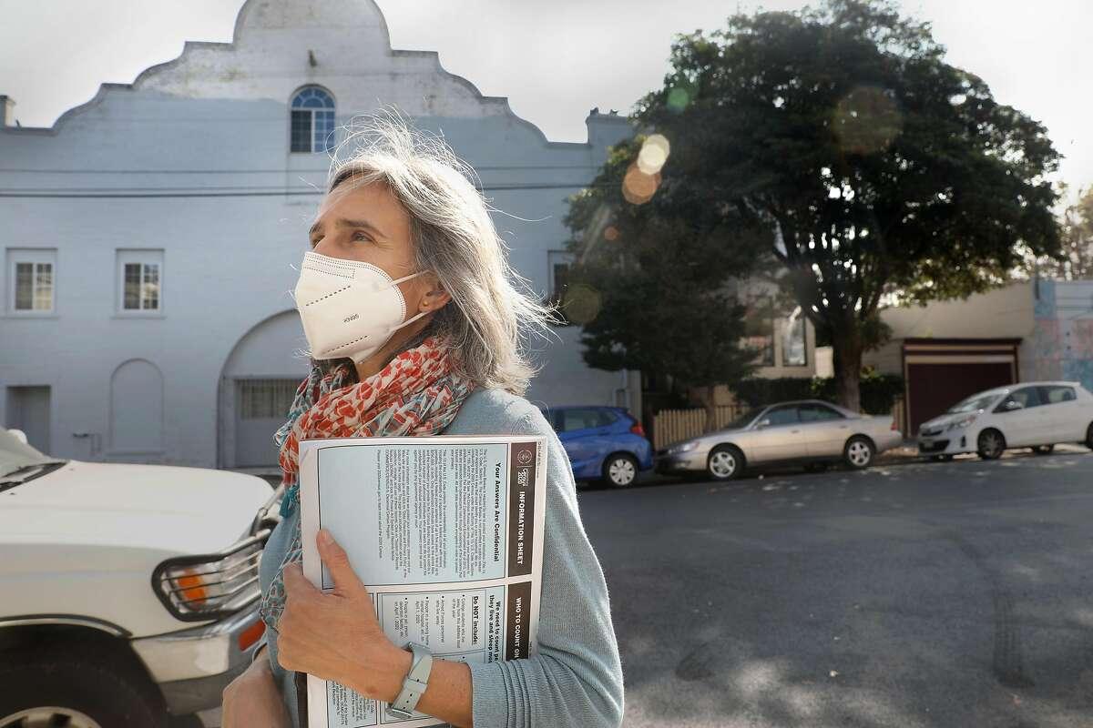 Census enumerator Amy Tanner walks in her neighborhood on San Jose Ave. on Thursday, Sept. 17, 2020, in San Francisco, Calif.