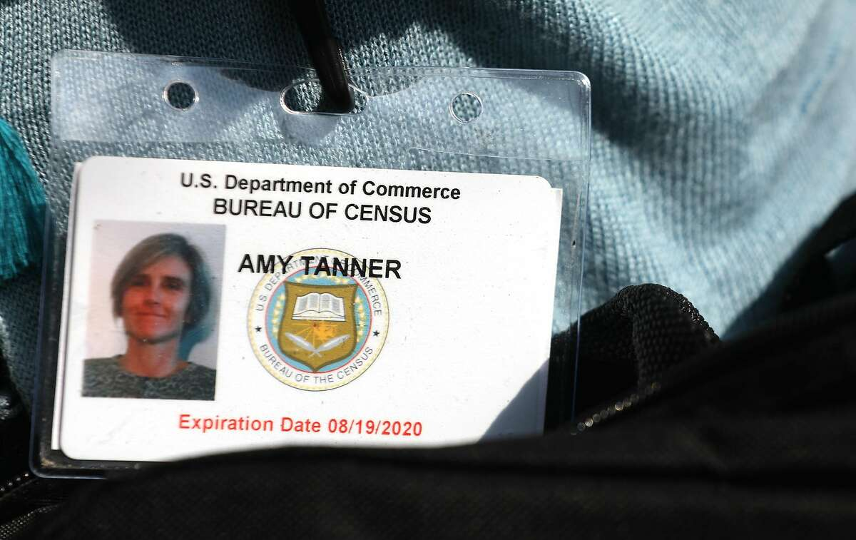 Badge shown for Census enumerator Amy Tanner on Thursday, Sept. 17, 2020, in San Francisco, Calif.