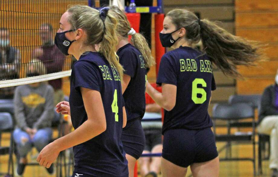 The visiting Reese Rockets picked up a win in four sets over host Bad Axe on Thursday night. Photo: Mark Birdsall/Huron Daily Tribune
