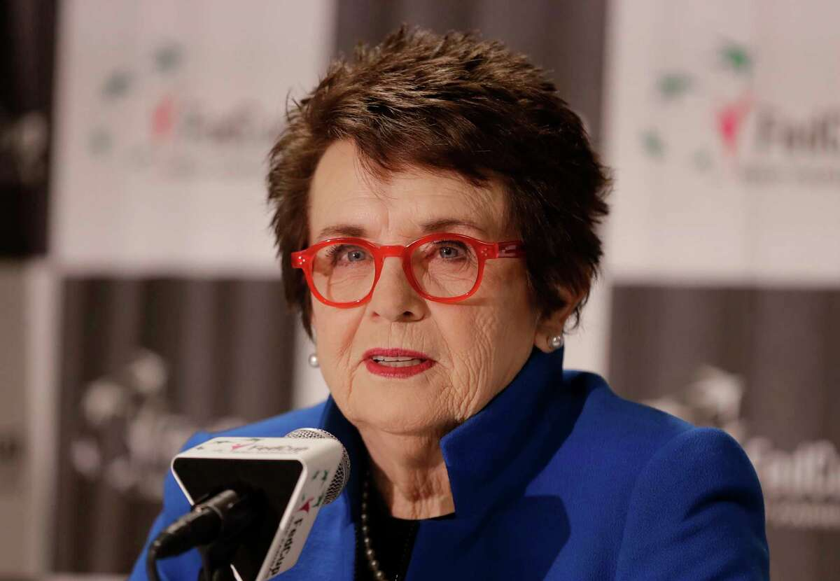 FILE - In this file photo dated Saturday, Feb. 9, 2019, Billie Jean King speaks to the media before the first-round Fed Cup tennis matches between the United States and Australia in Asheville, USA. The Fed Cup is changing its name to honour tennis great Billie Jean King, becoming The Billie Jean King Cup, the first major global team competition to be named after a woman, it is announced Thursday Sept. 17, 2020. (AP Photo/Chuck Burton, FILE)