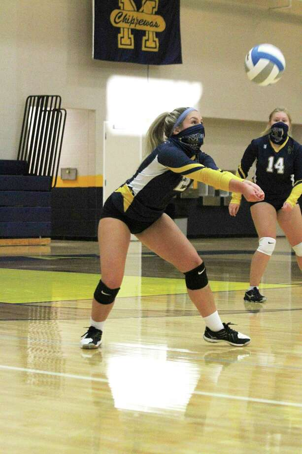 Manistee'sHaylee Pepera receives the ball Thursday night during the Chippewas' match with Reed City. (Dylan Savela/News Advocate)
