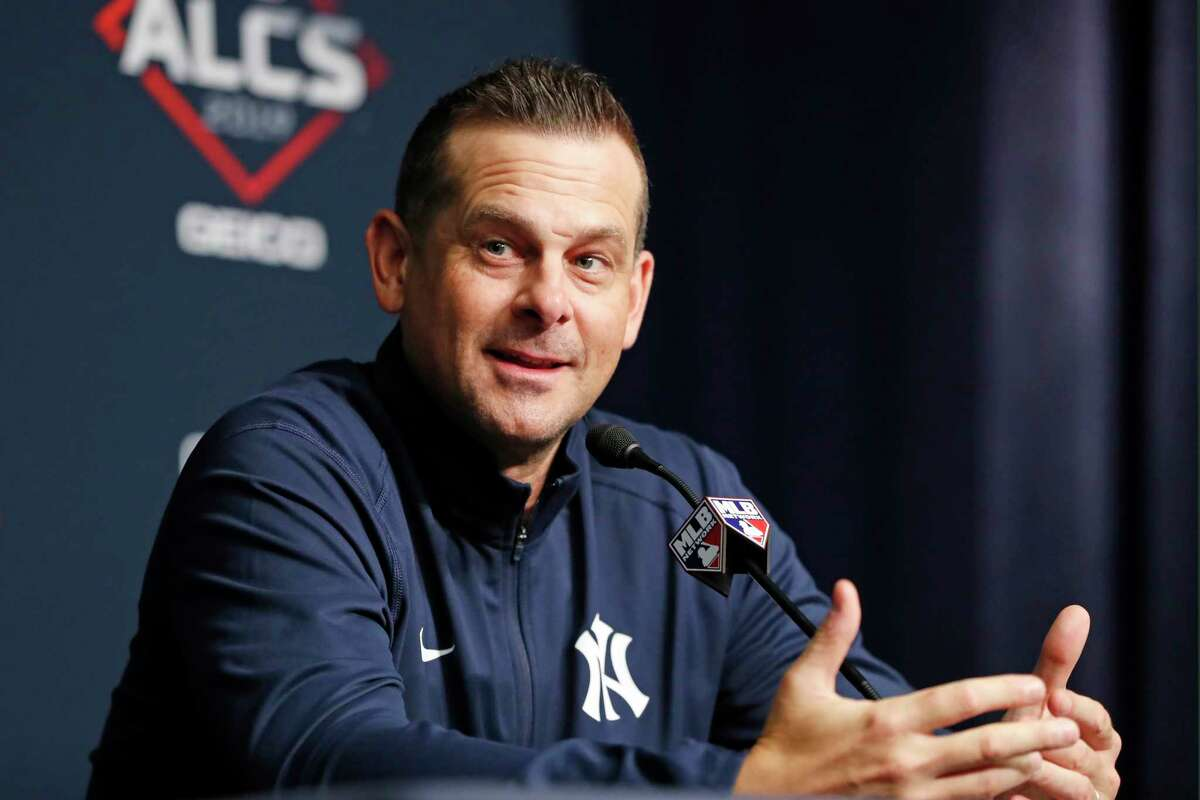 New York Yankees manager Aaron Boone speaks the media during a press conference, Monday, Oct. 14, 2019, on an off day during the American League Championship Series, at Yankee Stadium in New York. Game 3 is scheduled for Tuesday afternoon in New York. (AP Photo/Kathy Willens)