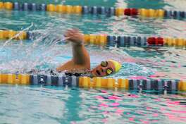 Manistee's Lillie Schmutzler swims the 200-yard individual medley on Thursday. (Dylan Savela/News Advocate)