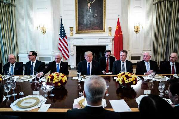 President Trump speaks during a lunch after he signed a trade agreement with Chinese Vice Premier Liu He in the State Dining Room at the White House on Jan. 15, 2020.